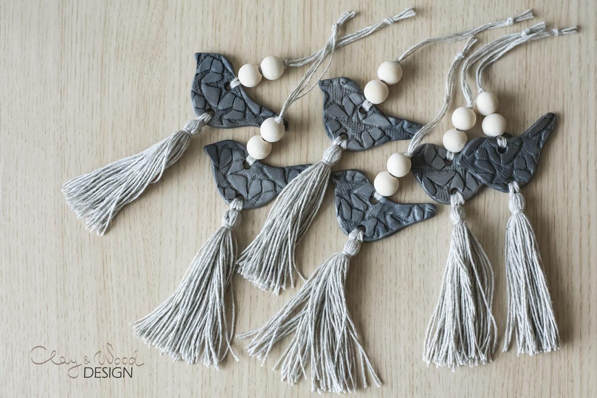 Melnās keramikas rotājumu komplekts - 6 putniņi