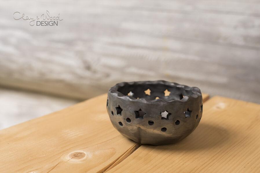 Melnās keramikas sveču trauciņš